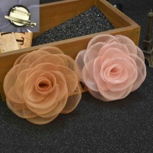 20 pcslot , Women's Sheer Organza Rose Flower Hair Clip Brooch Pin Backings
