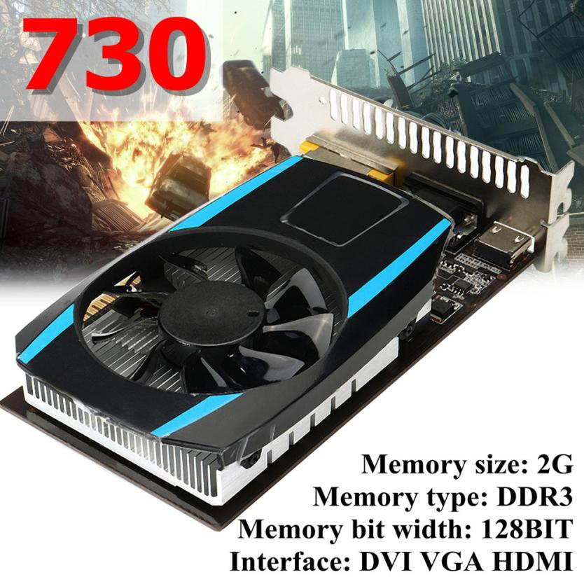Video Card GT730 2GB GDDR3 128bit VGA DVI HDMI Graphics Card w/ Fan For NVIDIA GeForce Video Cards 18Apr20 Drop Ship F computador cooling fan replacement for msi twin frozr ii r7770 hd 7770 n460 n560 gtx graphics video card fans pld08010s12hh