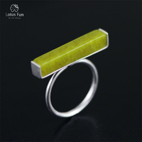 Lotus Fun Real 925 Sterling Silver Natural Olivine Stone Handmade Fine Jewelry Adjustable Ring Minimalism Rings