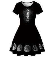 2019 Summer Sexy Gothic mini dress Vintage Women short Dresses Plain Purple Girls High Quality Fashion Female moon Goth Dress