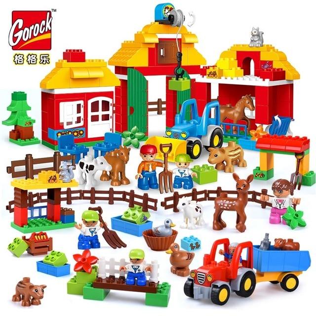 Blocs de construction de figurines danimaux de ferme heureuse, grande taille, ensemble de cadeaux pour enfants, bricolage, Compatible Duploe, briques de ville, jouets pour enfants, cadeau