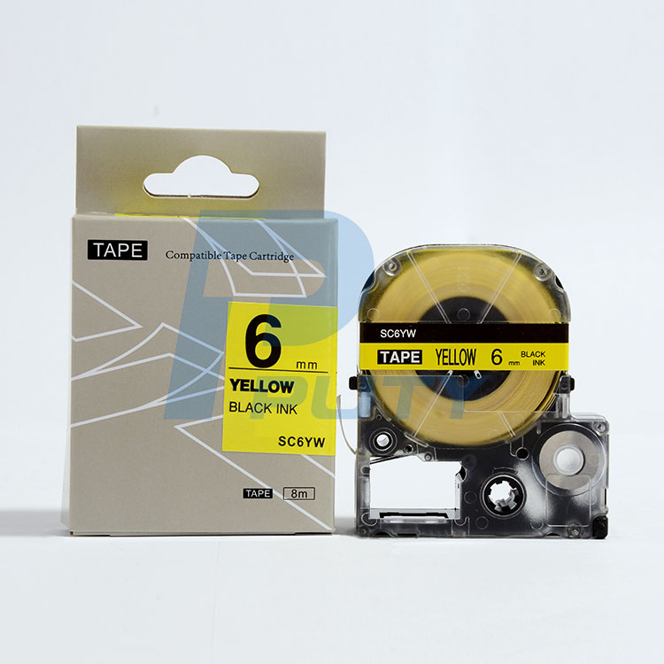 Easy ues label tape cassette LC-2YBW/ SC6YW 6mm Black on Yellow for label printers LW-300 LW-400 LW-700