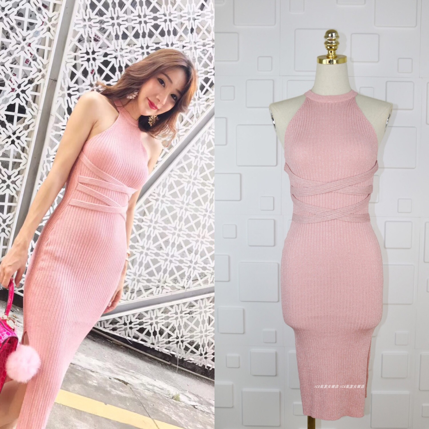 Hang a neck shoulder Show thin silver knitted elastic long split tight buttock dress sexy dress female bag