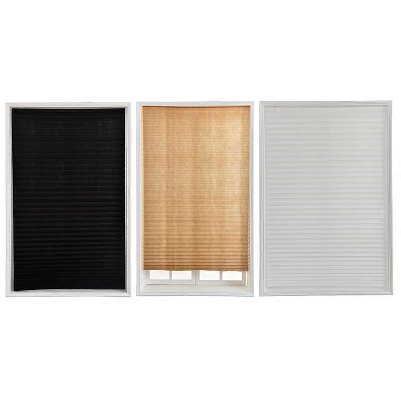 Soft Bedroom Blackout Curtains Cordless Light Filtering Pleated Fabric Shade Easy to Cut and Install