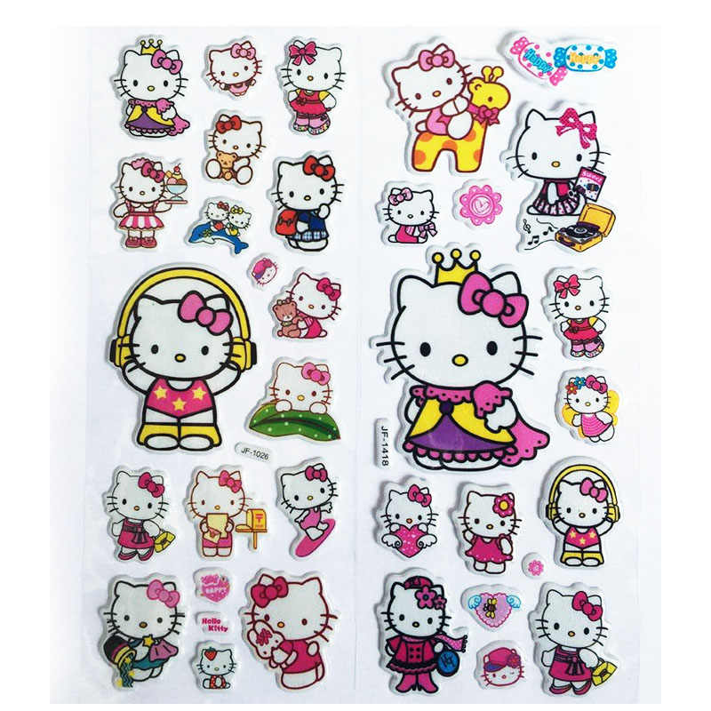 3D Puffy Bubble Stickers Katie Cat Cartoon Princess Cat Waterpoof DIY Baby Toys for Children Kids Boy Girl