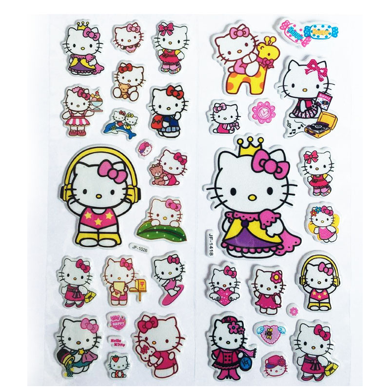 3D Puffy Bubble Stickers Katie Cat Cartoon Princess Cat Waterpoof DIY Baby Toys for Children Kids Boy Girl(China)