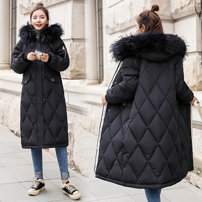 Hooded Elastic Fur Collar Winter   Down     Coat   Jacket Thick Warm Slim Women Casaco Feminino Female Jacket Abrigos Mujer Invierno
