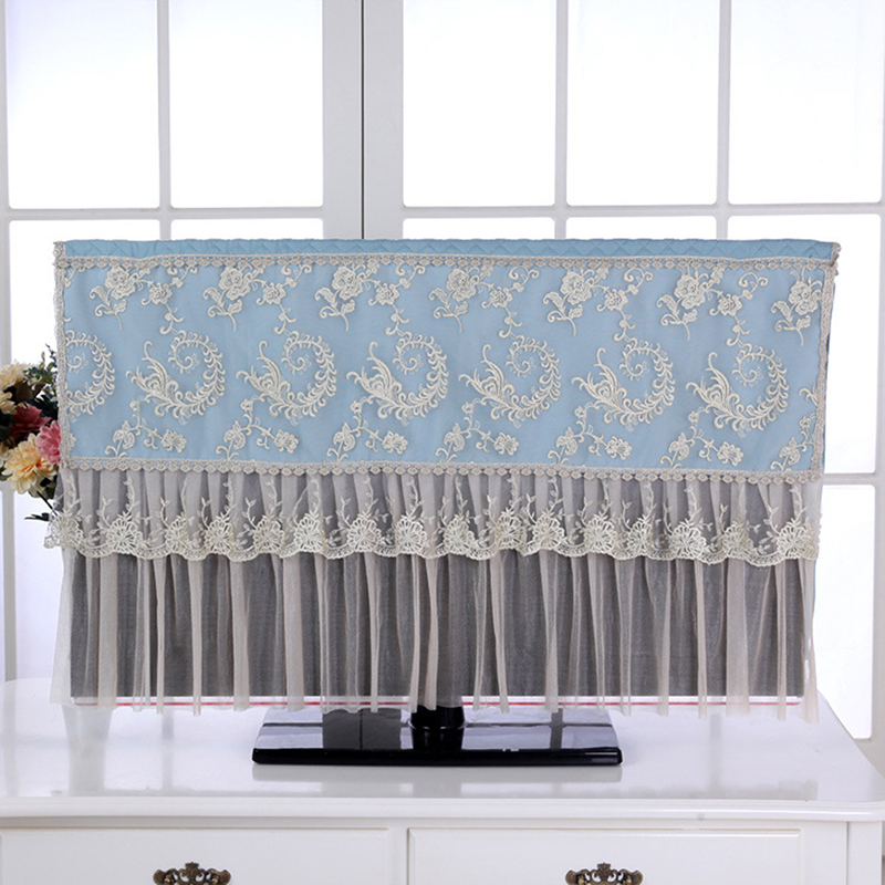 LCD TV Cover Cloth Television Dust-proof Microfiber Cloth LED Screen Lace TV Television Dust Cover 37-50 Inches