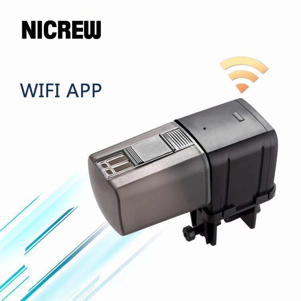 Nicrew Aquarium Automatic Fish Feeder Fish Tank WiFi Remote Intelligent Control Auto Fish Feeder Feeding Fish Food Dispenser image
