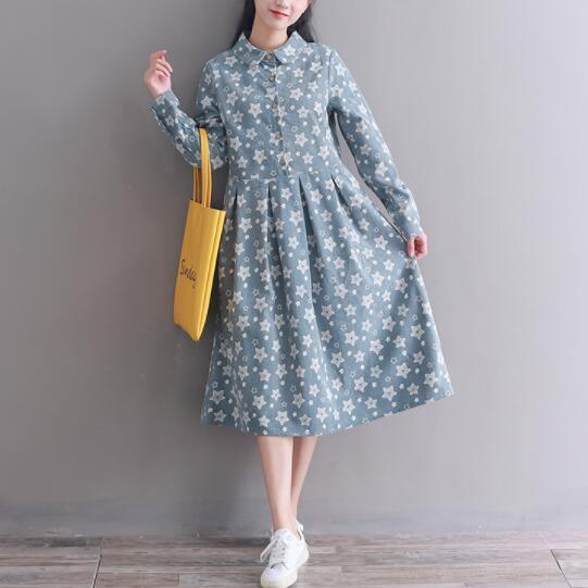 Mori Girl Vintage Dress 2018 New Autumn Winter Vestidos Women Long Sleeve Stars Printed Long Corduroy Dresses M-XXL Clothes