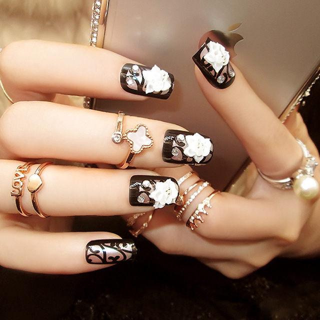 US $7 0 |24pcs/set fashion style environmental friendly Acrylic glue False  Nail flower charms party events black color Fake Nails Tips-in False Nails