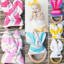 Handmade Wooden Natural Baby Teething Ring Chewie Teether Bunny Sensory Toy