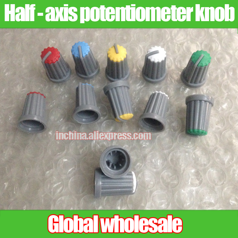 D13.5mm 20mm 180 Degrees. White Aperture 6mm Blue Red Useful 8pcs Half Axis Potentiometer Knob Cap Green