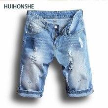 HUIHONSHE New Large size Men Hole Denim Shorts Male short jeans  summer casual Light blue short jeans short pants Size 36 38