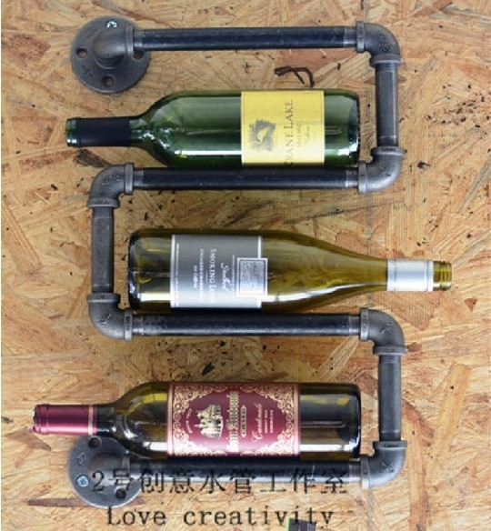 Top Sale 2pcslot Wall Mounted 3 Bottle Holder Racks Wine Glass