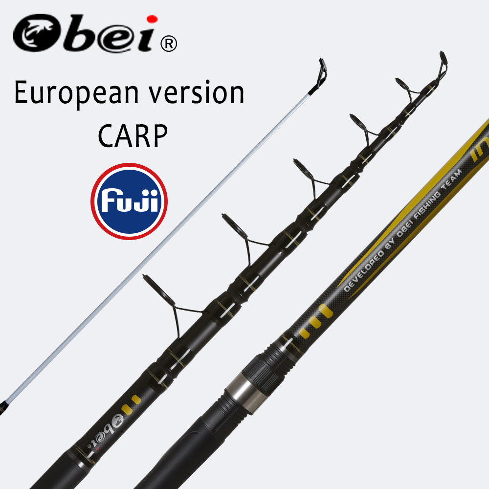 OBEI telescópica de pesca Rod 3,3 de 3,6 m de fibra de carbono fuji varilla giratoria pesca 12-25lb de 80-200g 11 12 difícil polo