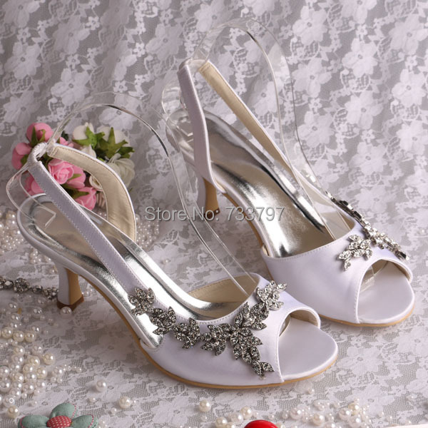 ФОТО Women Wedding Bridal Shoes Rhinestone Flower Slingback Lady's Prom High Heels Summer Sandals