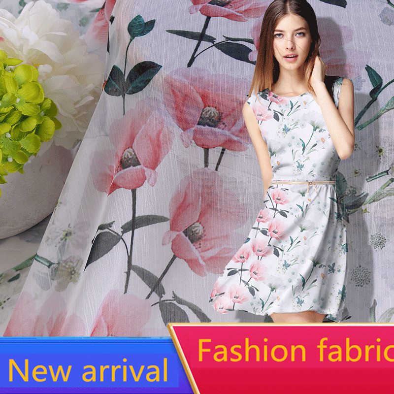 RUBIHOME New Arrival Wholesale 1 meters lots Summer Soft Silk Chiffon Fabric for Making Women Clothing Width 160cm Hot Sell in Fabric from Home Garden
