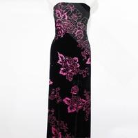 Fashion taste mother dress 100% silk velvet fabric dress shirt coat dress fabrics
