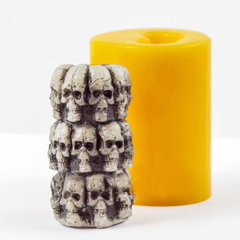 Silicone Mold Halloween Cylinder with skulls 3D molds for soap DIY skull candle molds skull soaps mold handemade candles mould|Cake Molds| |  - title=