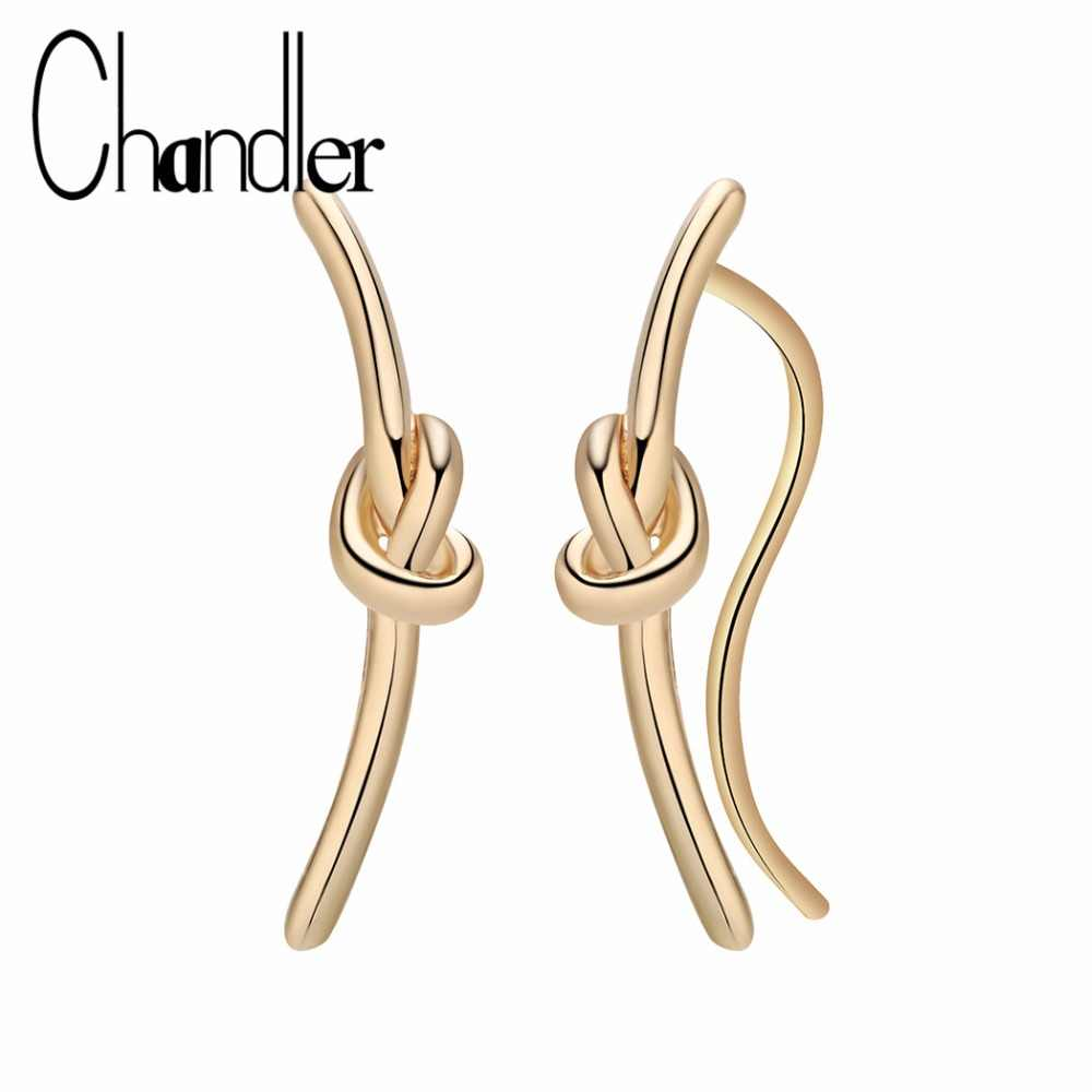 Chandler Wholesale Classic Gold Color Knot Earings For Women 2018 New Fashion Jewelry Casual Oorbellen Ohrringe Earring Brincos