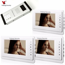 Yobang Security 7 Inch Wired Video Door Phone Visual Intercom Doorbell with 3* Monitor+1* Camera For 3 Units Apartment Intercom