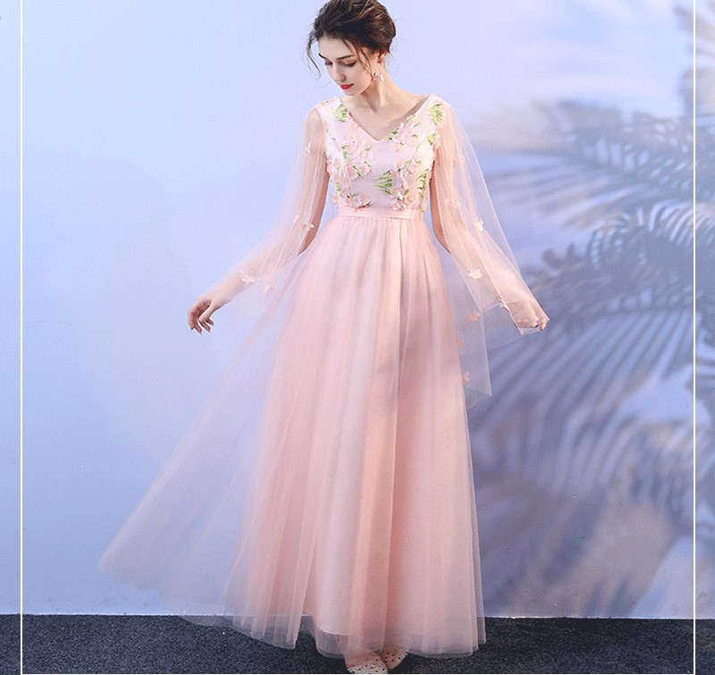 Pink Floral Appliques Floor Length Bridesmaid Dress 1