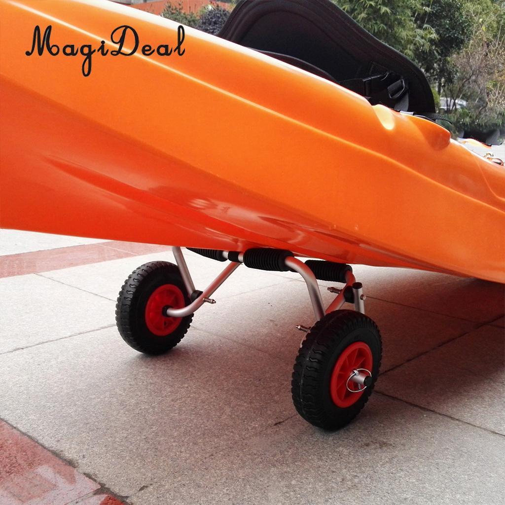 MagiDeal 高品質 1 ペアパンク証拠ゴムタイヤ赤ホイール屋外サーフィン漕ぎボートカヤックトロリートレーラーホイール acce  グループ上の スポーツ & エンターテイメント からの 手こぎボート の中 1