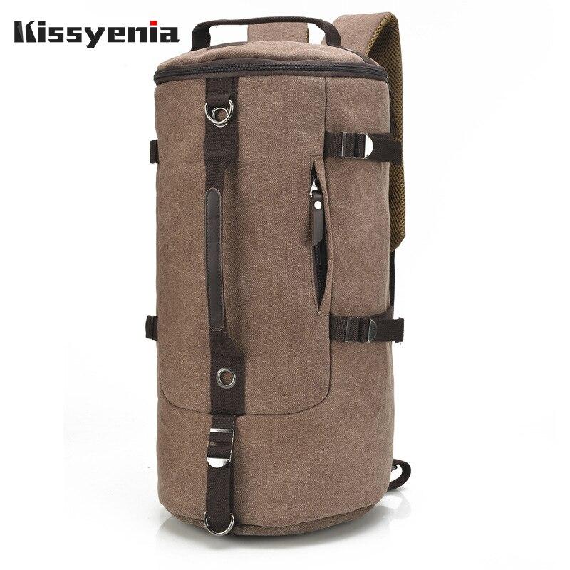 Kissyenia Canvas Travel Duffle for Men Large Capacity Flight Trip Luggage Backpack Overnight Bucket Handle Bag Travel Bag KS1019