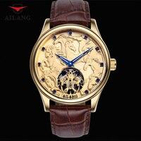 Крутые резные часы Дракон лошадь мужчины шикарные с позолотой механические часы самоветер наручные часы с ремешком из натуральной кожи