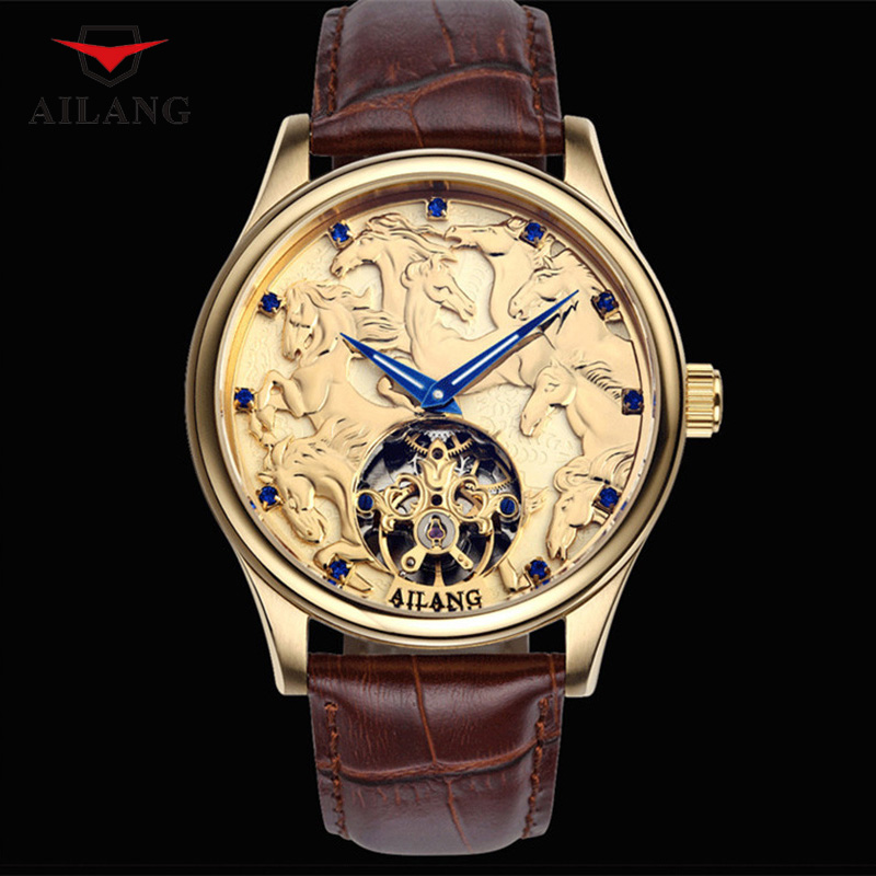 Cool Carved Dragon Watches Horse Men Luxury Gold Plated Mechanical Watch Self wind Genuine Leather Wristwatch Tourbillon Relojes|masculino|masculinos relogios|masculino watch - title=
