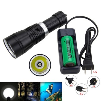 1000 LM Black Lanterna  XM-L T6 LED Flashlight  Up to 100M Underwater Diving Torch Light with 18650/26650 Battery and Charger