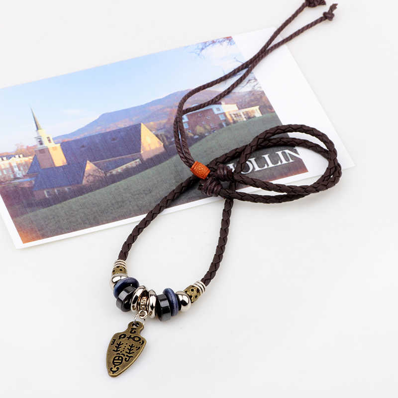 UBEAUTY Leather Cord Weaving Necklace  Fashion Hipster Vintage Men Necklace Unisex Alloy Charms Necklaces For Women Men Jewelry