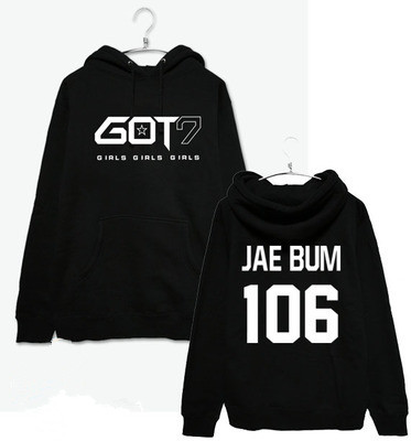 2017 New Hip Hop GOT7 Women Hoodies Clothing Pullovers Fashion Baseball Jersey Jackson Mark Long Sleeve Women/Mens Sweatshirt