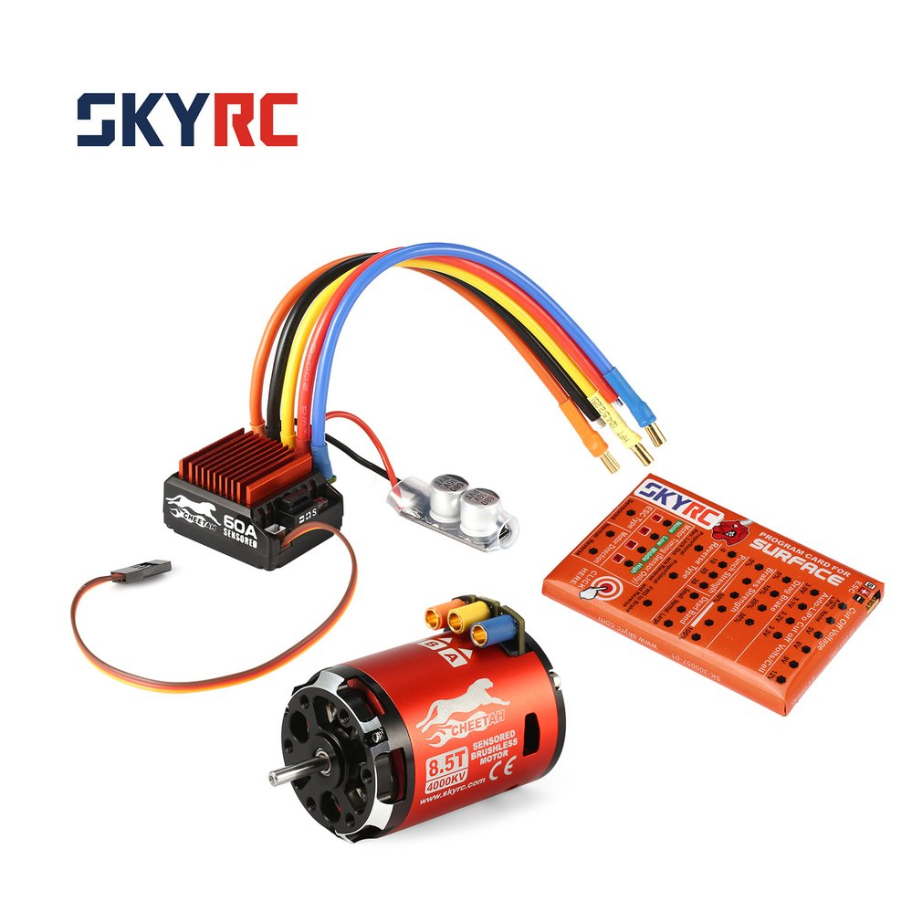 SKYRC 4000KV 8.5T 2P Sensored Brushless Motor+CS60 60A Sensored ESC+LED Program Card Combo Set for 1/10 1/12 RC Buggy Car f540 3930kv brushless motor 45a esc led program card for 1 10 1 12 rc car