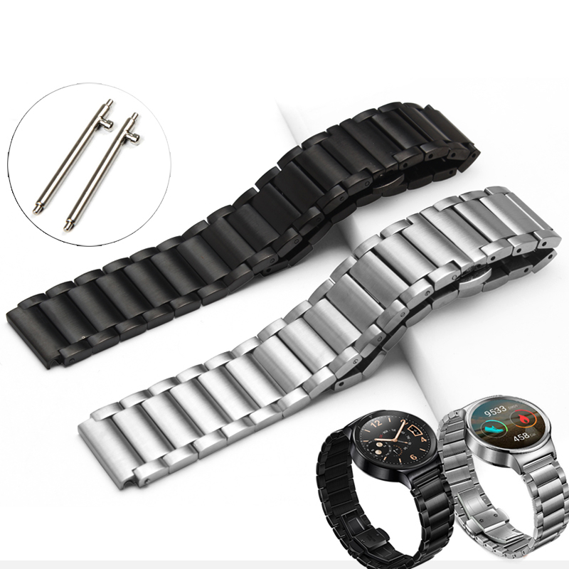 цена на Stainless Steel Smart Watchband Metal Butterfly Buckle Classic Watch Strap for Huawei Watch HWBBMS