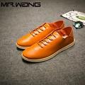 Alta Qualidade Homens Marca de Moda Dos Homens de couro Genuíno apartamentos Sapatos de Lona Respirável Sapatos luz sapatos baixos Tênis Casuais BB-44