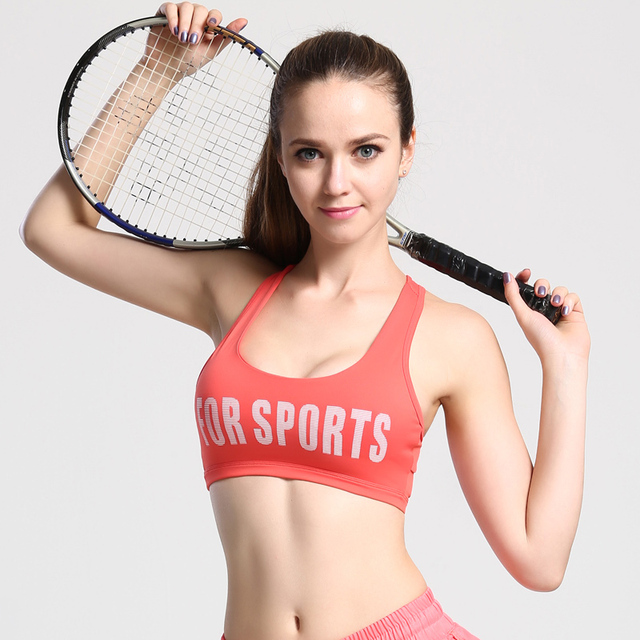 1f28811fa55d9 2017 Women s Sports Bra Yoga Push Up Gym Sports Vest Running Padded Bras  Breathable Athletic Underwear Shockproof Strappy Tops