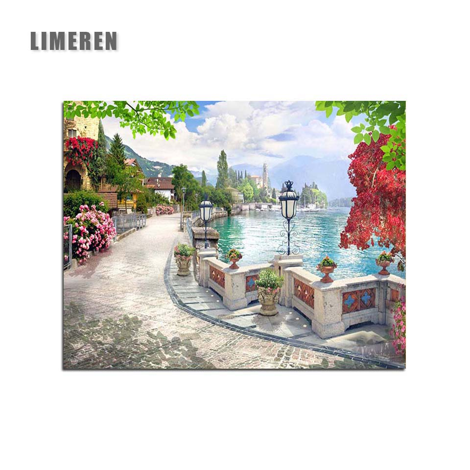 Frameless Street Benches Painting By Numbers Lakeside Coloring By Numbers Unframed