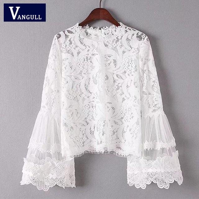 d75364e0e44856 Women Vintage Transparent Lace Shirt Two Pieces Long Flare sleeve O-Neck  Blouse European Style Ladies Brand Tops Blusas 2018 New