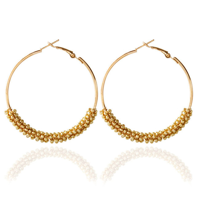 Bohemian Beads Hoop Earrings for Women Jewelry Fashion Gold Color Round Brincos Boucle d'oreille 2017 New Big Orecchini Bijoux