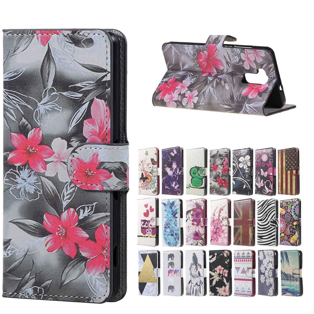 Doogee Y6 case delicate Red flowers Magnetic Leather wallet Stand cover Case sFor Doogee Y6 mobile phone Cases copue funda
