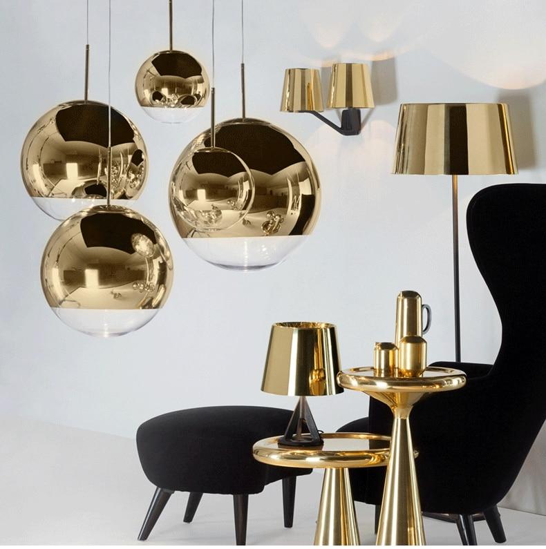 Image 2 - LukLoy Modern Mirror Glass Ball Pendant Light Copper Silver Gold Globe Loft Hanglamp Modern Lamp Kitchen Light Fixture-in Pendant Lights from Lights & Lighting