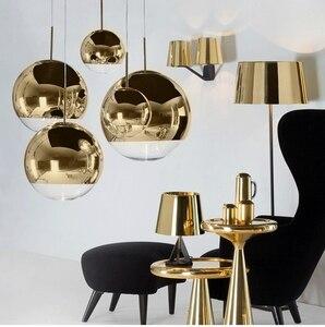 Image 2 - LukLoy مرآة الحديثة كرة زجاجية قلادة ضوء النحاس الفضة الذهب غلوب لوفت Hanglamp لمبة عصرية ضوء مطبخ تركيبات