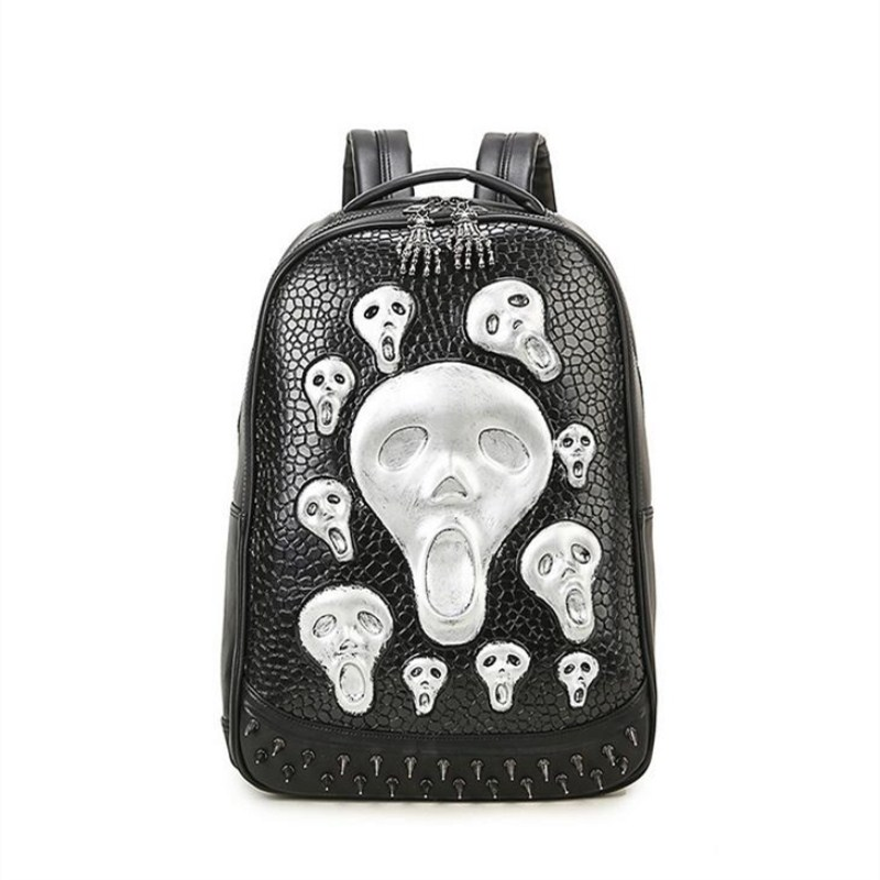 High Quality School 3D Skull Head Backpack Men Women 's Skeleton Faux Synthetic Leather Laptop Student Laptop airsoft adults cs field game skeleton warrior skull paintball mask