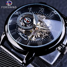 Forsining Retro Fashion Black Skeleton Sport Clock Mechanical Watch Luminous Hands Mesh Bracelet For Men Top Brand Luxury Watch цены онлайн