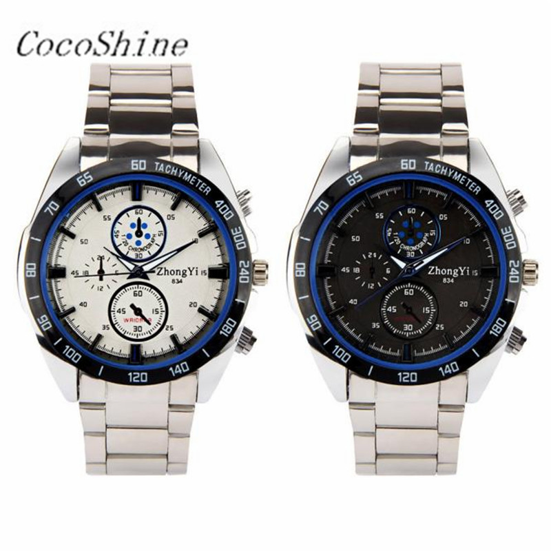 High Quality ZM-856 Free shipping & Wholesale!Luxury Fashion Vogue Man Sports Stainless Steal Business Etiquette Quartz Watch