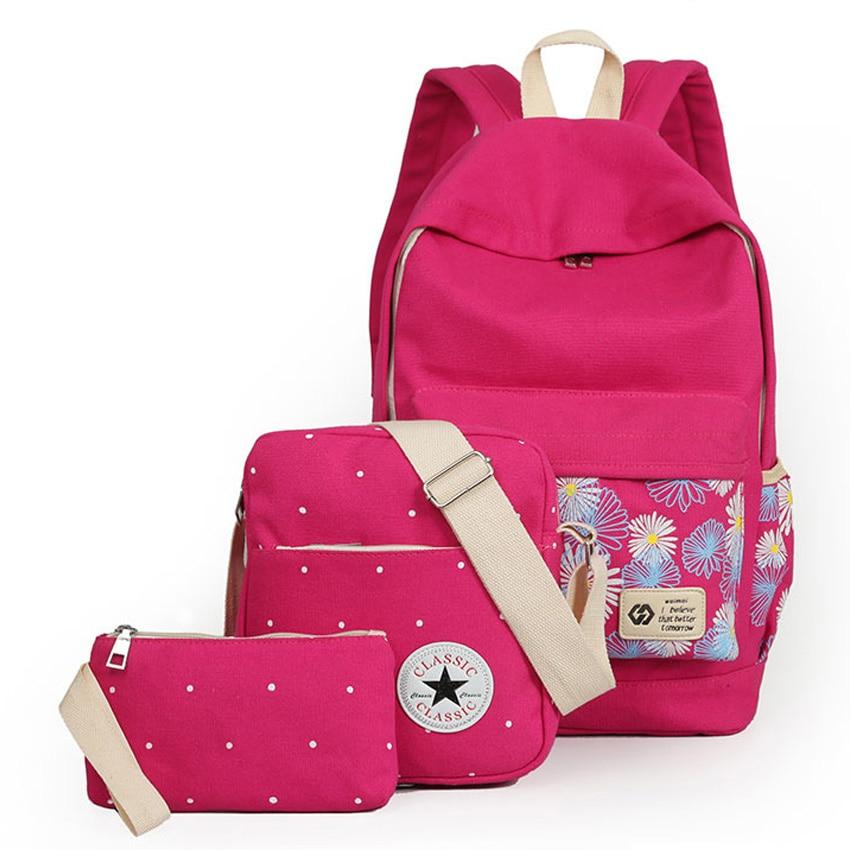 3PCS Lot Fashion Floral Painting Design Women Shoulders Bag Backpack Durable Canvas School Bag Backpack for