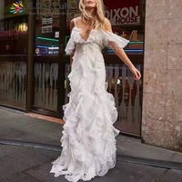EDGLulu slip dress elegant sexy club v neck long dress peplum white womens dresses new arrival 2019 summer runway ruffle dress