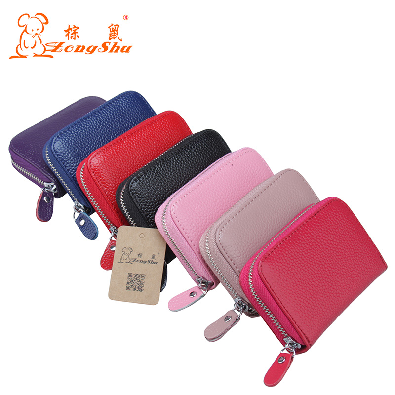 2018 new arrivals Women Cards Holder Wallets designer genuine leather Coins Purse Small refild Zipper Pouch ID Credit Card Case nahoo hospital nurse name badge tag holder leather badge holder credit id reel card holder neck bus cards case office supplies